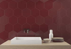 Geom Wall Red Dark Tile